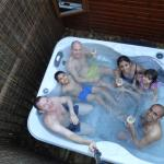 Hot Tub. 6 of us squeezed in