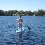 Stand up paddle boarding on the lake
