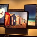 some of the picture frames inside the restaurant
