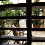 View through shutters on the hotel room