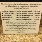 Placard of cost of room items