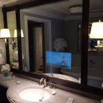 Television in bathroom mirror