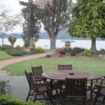 View front front of hotel with Lake Te Anau beyond