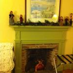 decorative fireplace in the Rebecca Moseley Room