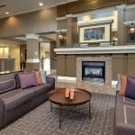 Bright Hotel Lobby, Fireplace Seating