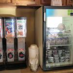 Cereal selection and fridge