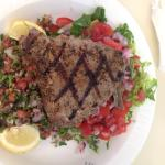 Grilled tuna steak with tabouli and salad!!!  Perfect!