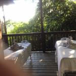 Tables set up for our couples massage on our deck