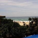 View of the beach from the room