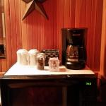 Delightful coffee station with CERAMIC MUGS!!!  YES!!!