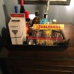 Mini bar with goods on top