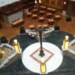 Photo from the elevator overlooking the Clocktower restaurant.