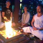 Fire ceremony for those participating in course at Samahita.