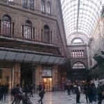 Christmas interior of the Galleria Umberto - and entrance to the hotel