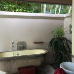 Out door bathroom and tub.