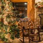 Hearth and Christmas tree in dining area