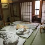 Bedroom with tatami mattress which the hotel staff will set up after sunset.