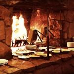 Raclette cheese fireplace