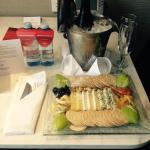 Our complimentary cheese platter and wine.
