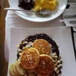 Top is Beef Tapa, scrambled eggs and plain rice.  Bottom: Pancakes with white and milk chocolate