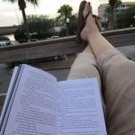 reading on the great deck out back