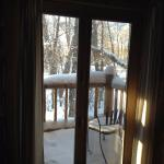 The back deck off our room showing off snowy beautiful Jackson.
