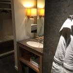 Amazing bathroom with lots of open storage and extras