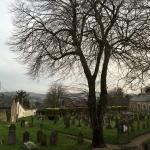 View from Room 14 across churchyard to moors