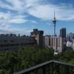 Clear view of the Auckland Skytower from 7th floor room balcony