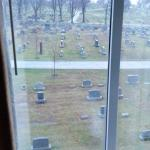 View from room 408. The even # rooms face Evergreen/National Cemetery