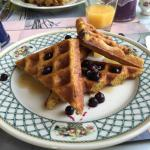 Whole wheat waffles with Maine blueberry syrup.