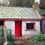 The ancient little play cottage in the garden