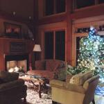 Loved the beautiful Christmas tree in the main living room downstairs with a cozy fireplace.