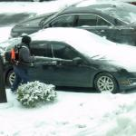 Staff clearing off cars after a mild snowstorm