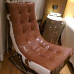 Great cowhide chair in room