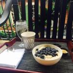 Balcony coffee and breakfast-the steel cut oats-phenom-love