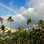 View from our room of Waikiki; it rained 10 minutes and then this rainbow appeared