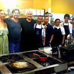 Irene and Sianny at the ends and me and Ilario in the middle. with his kitchen staff.