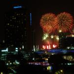 View of New Years' Eve fireworks down at Marina Bay