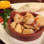Two weekly specials - Scallops, King Prawns & Chorizo in a garlic butter sauce. Plus Pork belly,