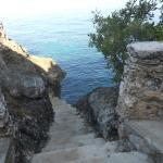 Staircase from restaurant leading to swimming/snorkel area