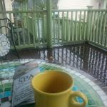 Fresh coffee on the porch. Comfy