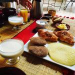 Breakfast - fantastic yoghurt, orange juice and mixed pastries