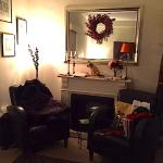 A lovely seating area in our room- gorgeous leather chairs and amenities