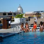 the rooftop pool and the bar beyond