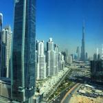 The view of Burj Khalifa, the tallest building in the world from the Oberoi Hotel in Dubai.
