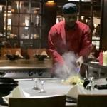 Putting on a good hibachi show at Harrysan