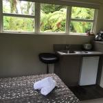 Great window view! Compact kitchen but everything you need including microwave and decent size w