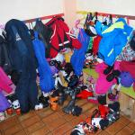 Chaotic and cold boot room.