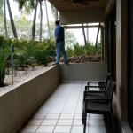 Honeymoon Suite patio - spacious but on ground level by kitchen and no hammock